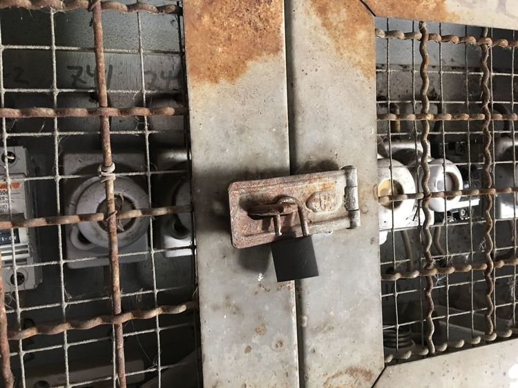 Department Electricity  Metal Rusty Lock Close-up Instruments Mesh FUSE