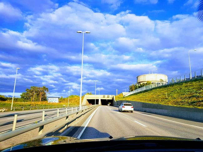 Driving home with great weather 😀 Great Weather Cloud - Sky Car Transportation Traffic Highway Mode Of Transport Road Bridge - Man Made Structure Travel No People Architecture Outdoors Sky Day Sweden Motorway