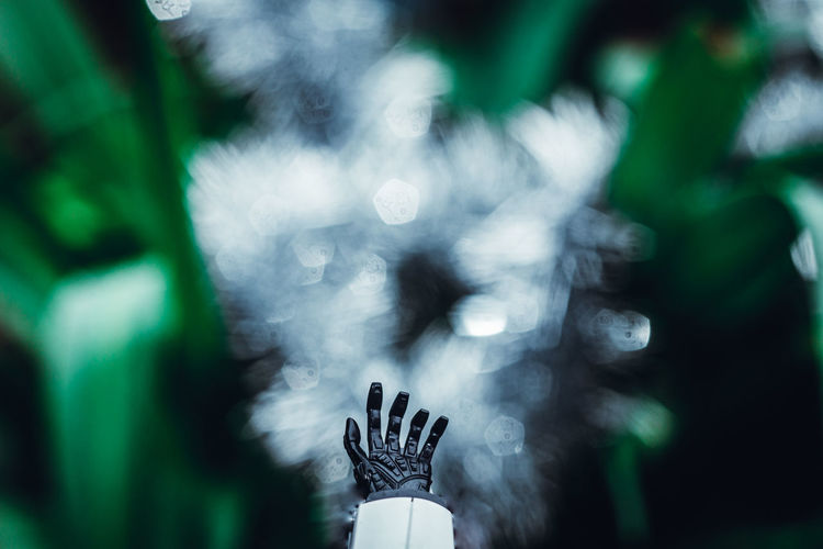 Close-up of robot hand against plants - envision the future
