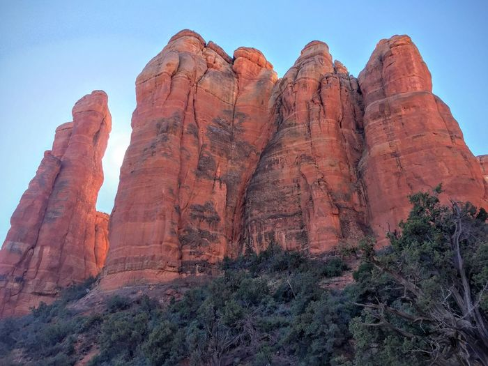 Low angle view of cathedral rocks against sky