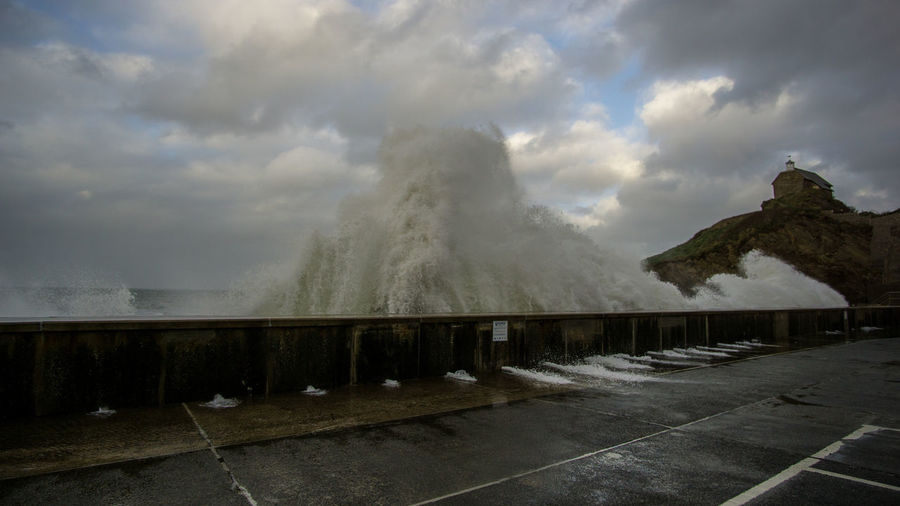 Storm surge slams into the sea wall. Surf Beauty In Nature Capture Motion Cloud - Sky Fast Exposure Force Hurricane Ophelia Motion Nature No People Ocean Outdoors Power In Nature Scenics Sea Sea And Sky Sky Storm Cloud Storm Surge Water