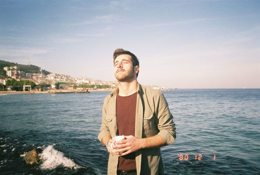 Analog Photography Nikonl35AD Outdoor Chilling Beach Sea Sea Only Men Beard Front View One Man Only Adults Only Casual Clothing