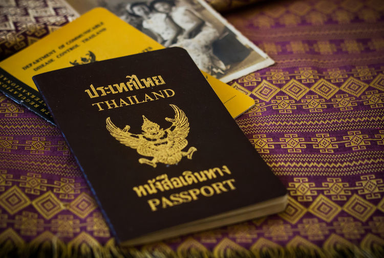 Close-up of passport on table
