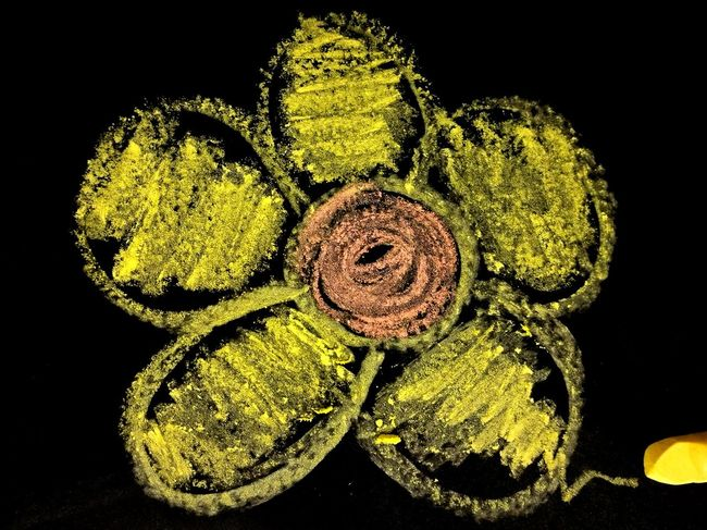 Paint The Town Yellow Close-up Yellow No People Chalk Black Background Flower Flower Head Chalk Drawing Chalk Board Yellow Chalk Black Wall