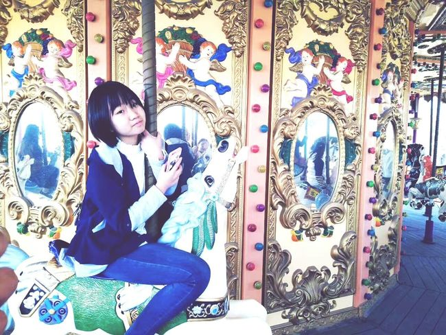 One Young Woman Only Beauty Young Adult Day Multi Colored Merry-go-round Colourfulworld Chinese Girl Memory Trip Playground Fun With The Kids Adorable Girl Fairground Fairground Ride Happy Time Holiday Memories