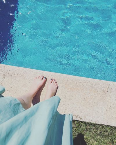 Barefoot Blue Day High Angle View Human Body Part Human Foot Human Leg Leisure Activity Lifestyles Low Section One Person One Woman Only Outdoors Personal Perspective Poolside Real People Relaxation Sea Shadow Summer Sunlight Swimming Pool Vacations Water Women Sommergefühle