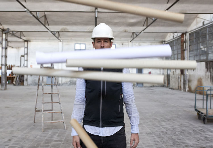 Man standing at construction site