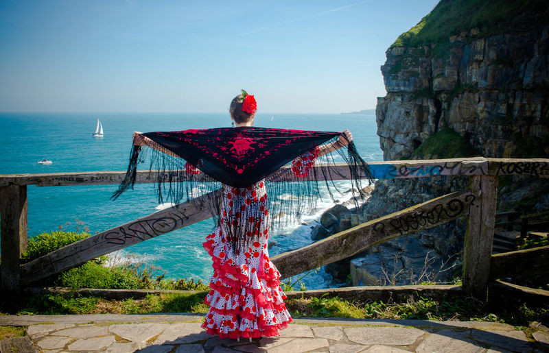 Andalucía Flamenco Spanish Woman Adult Clear Sky Day Horizon Over Water Nature One Person Outdoors People Real People Rear View Red Sea Sky Water Women Connected By Travel