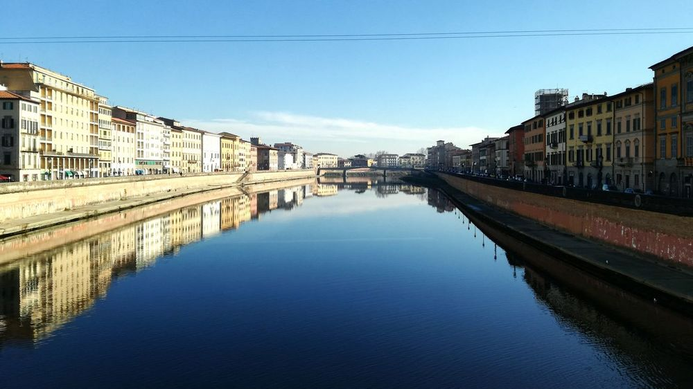 Reflection City Water Clear Sky Outdoors River Bridge - Man Made Structure Travel Destinations No People Business Finance And Industry Sky Cityscape Day Beautiful Art Pisa LungarnoPisa, Italy PisaeProvincia Pisa