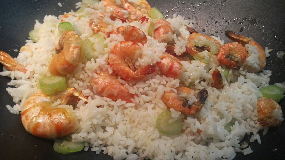 Stir fried shrimps with rice in wok frypan Asian  Close-up Cooking Cuisine Food Food And Drink Freshness Fried Rice Frying Frypan Healthy Eating High Angle View No People Personal Perspective Prawns Ready-to-eat Seafood Shrimps Stirfry Street Food Thai Thailand Traditional Wok
