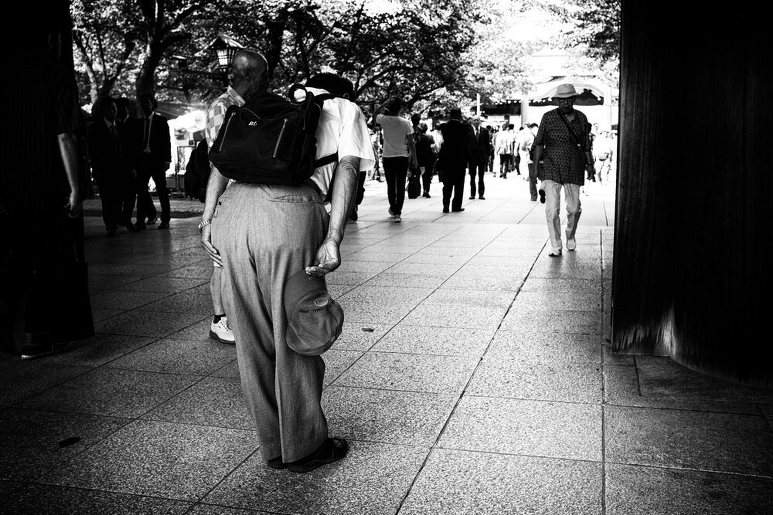 walking, real people, rear view, city, group of people, street, footpath, tree, women, lifestyles, men, people, direction, plant, incidental people, full length, adult, the way forward, architecture, paving stone, tiled floor
