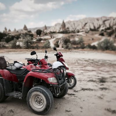 Transportation Land Vehicle Mode Of Transport Day Motorcycle Sky Outdoors Real People Sand Landscape Nature