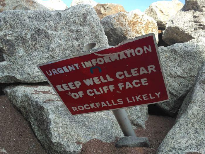 Rockfall Collapse Rocks Beach Communication Text Beach Western Script Close-up
