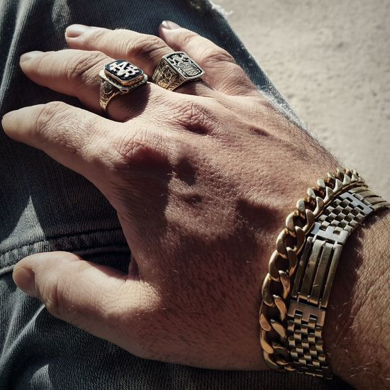 Cropped Image Of Man Hand Wearing Jewelry