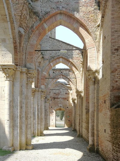San Galgano Church Abbey Ruins Abbey Sunlight Corridor Architectural Column Arch History Architecture Built Structure Colonnade