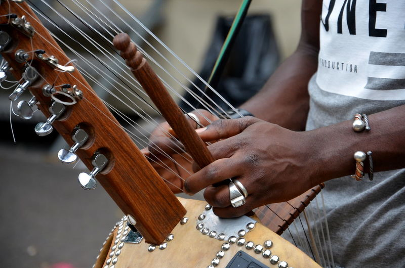 Close-Up Of Man Playing Musical Instrument