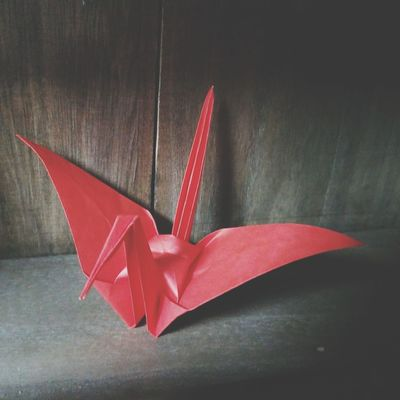 Folded paper crane Folded Paper Crane 折り鶴 Origamiart Origamicrane Origami Craft Origami Space Red Star - Space Painted Image Close-up