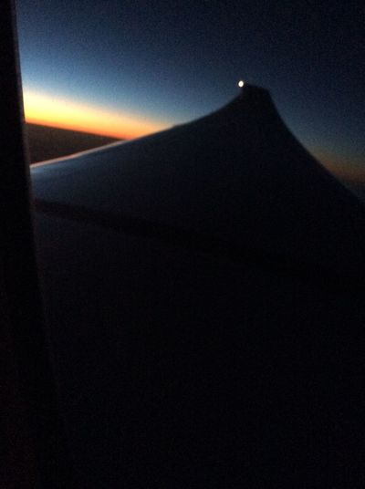 Sunset over Japan, 22 December 2014. Flight from Hiong Kong to Dallas, Sunset Boeing 777-323ER
