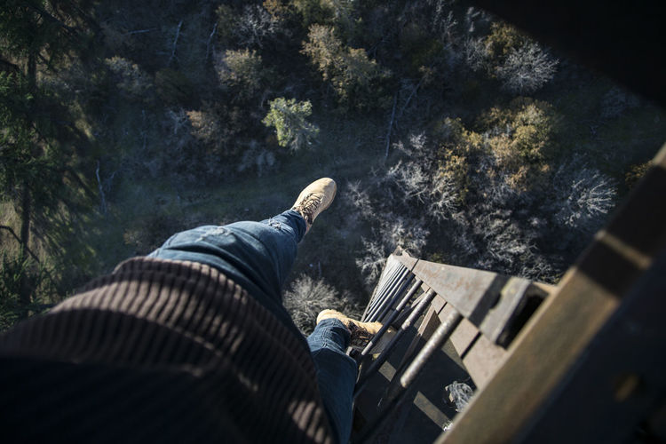 Low section of man climbing down on ladder over trees