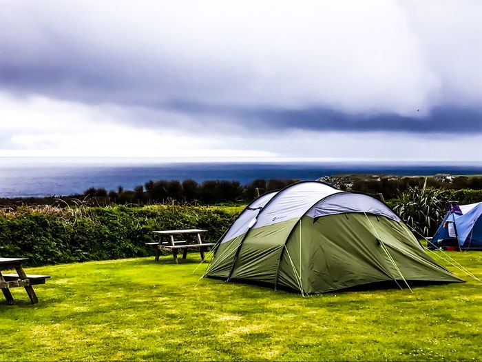 Beautiful evening at camp Travel Photography Springtime Water Nature Sky Landscape Camping Shelter Outdoors Family Time Grass Tent Family Matters Dramatic Sky Vacations Adventure Cornwall Uk Green Color Cornish Coast Leisure Activity Horizon Over Water Cloud - Sky Your Ticket To Europe The Week On EyeEm Treen Campsite Tent In Camping Field With A View Over The Sea Done That.