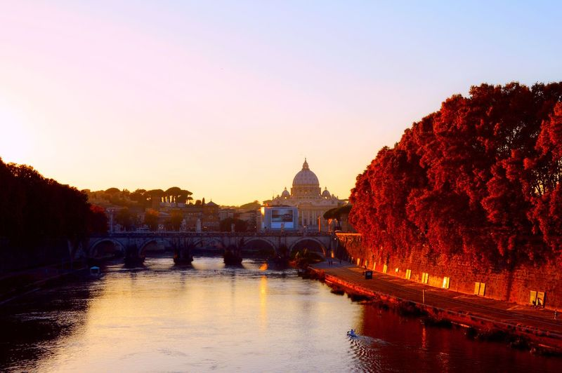 Autumn Colors, Morning Autum Sky In Bangladesh. Bridge Fall Colors, Italy River Rome St. Peter's Basilica Tiber River Tourism