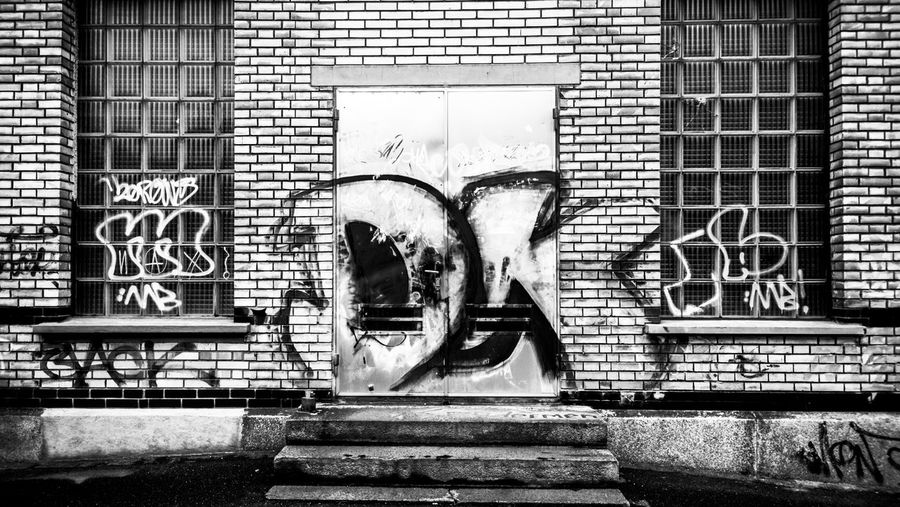 Graffiti on closed door