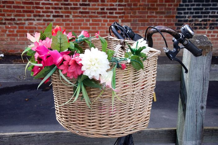 Bicycle Basket of Flowers Basket Flower Brick Wall Outdoors Bicycle Basket Day Bicycle No People Freshness Close-up Basket Of Flowers 🌷 Flora Floral Bicycle Handlebars Handlebars Bike Parked Bicycle Velo