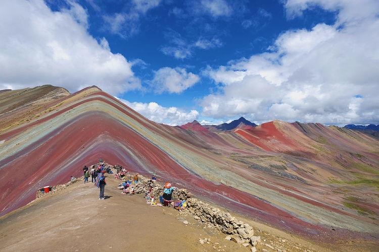 Rainbow Mountain Rainbow Mountain Scenery Scenics Vinicunca Peru Mountain Rural Scene Sky Landscape Cloud - Sky Panoramic
