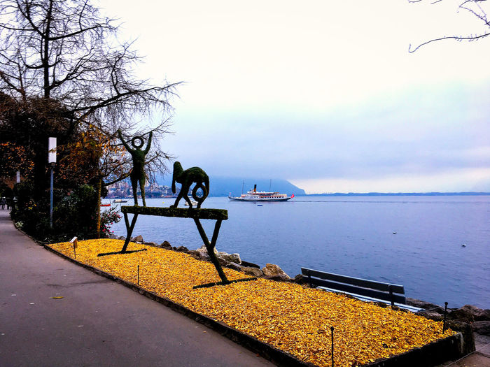 Leman Lake Switzerland Beauty In Nature Bench Cloud - Sky Day Horizon Horizon Over Water Idyllic Nature No People Outdoors Plant Scenics - Nature Sky Tranquil Scene Tranquility Transportation Tree Water