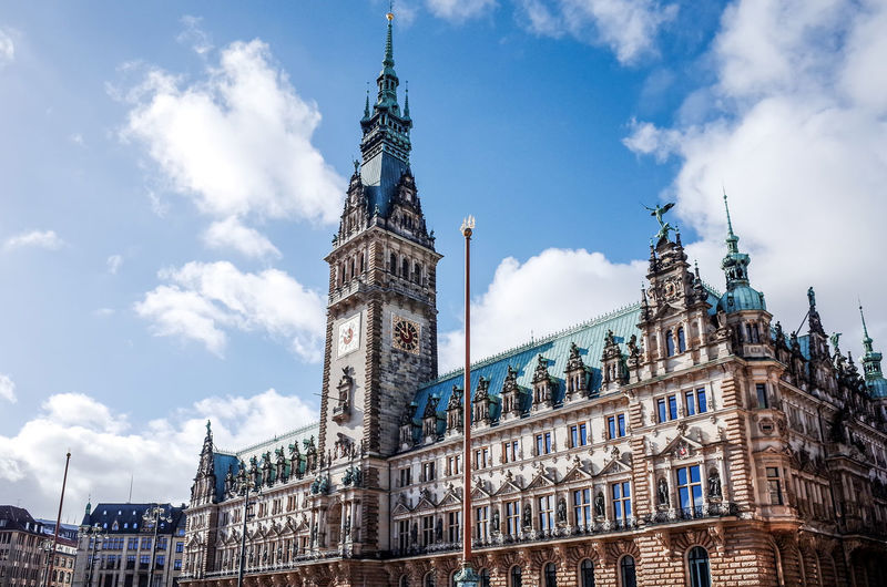 Low Angle View Of Hamburg Rathaus Hall Against Sky
