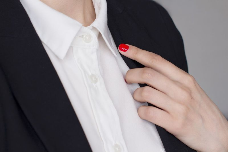 Young woman in white shirt and black jacket White Shirt Menswear Suit Boss Fashion Stylish Working Hard Classical Style Blackandwhite Black And White Power Office Strongwoman Business Woman Adult Hand Midsection One Person Nail Polish Fashion Women Celebration White Color Event Wedding Clothing Red Nail Polish Close-up Bride Human Hand