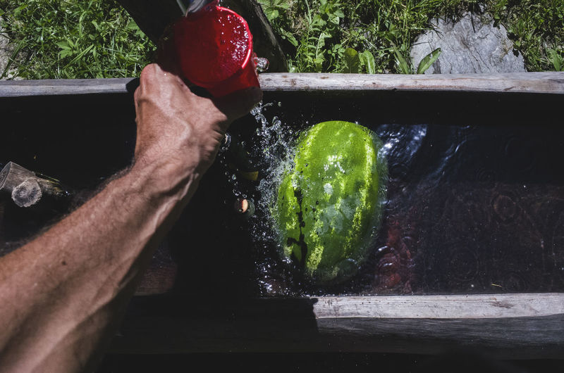 Cropped Image Of Hand Cleaning Watermelon Under Faucet