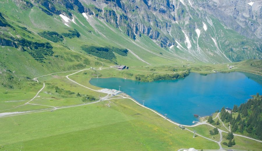 Tranquility Scenics - Nature Landscape Green Color Aerial View Beauty In Nature Water Nature Environment Day Tranquility Tranquil Scene No People Land Lake High Angle View Outdoors Mountain Travel Destinations Non-urban Scene Engelberg, Switzerland