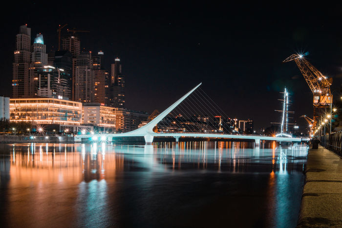 Having a look at the Puente de la Mujer over to Puerto Madero - one of the wealthier districts in Buenos Aires. Travel Architecture Bridge - Man Made Structure Building Exterior Built Structure City Cityscape Crane Harbor Illuminated Long Exposure Nautical Vessel Night No People Outdoors Puente De La Mujer Puerto Madero Reflection River Skyscraper Transportation Travel Destinations Urban Water Waterfront Adventures In The City Visual Creativity This Is Latin America