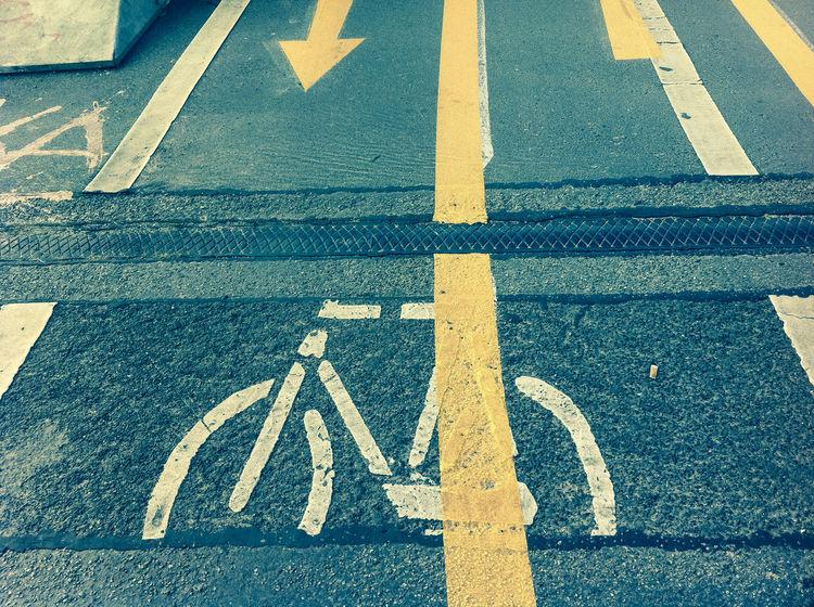 Bornholmer Bridge: bicycle track Bicycle Track Bridge Communication Information Pavement Sign Symbol Tarmac