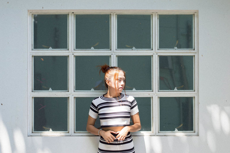 Din Girl Sunlight Aesthetic Day One Person Window Standing Real People Casual Clothing Striped Portrait Outdoors