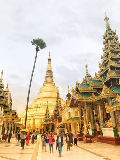 Fullmoonday Shwedagon Pagoda Built Structure Architecture Building Exterior Sky Belief Group Of People Building Cloud - Sky Crowd