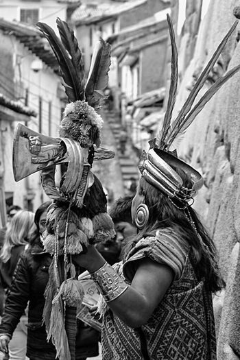 Outdoors Parade Cultures City Close-up Day Real People People Adult Travel Photography Rickeherbertphotography Wanderlust Cusco, Peru Blackandwhite Streetphotography Street Art The Street Photographer - 2017 EyeEm Awards