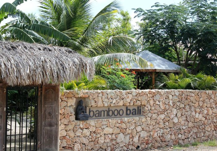 bamboo bali Resort on Bonaire 2013 Architecture Bamboo Bali Bonaire Built Structure Communication Day Entrance Area Entrance Door Entrance Gate Entrance Portal Entrance Way Freshness Hotel And Resort Indonesian Style Intimate Boutique Resort Nature No People Outdoors Palm Trees Text Thatched Roof Tree Tropical Vacation Resort