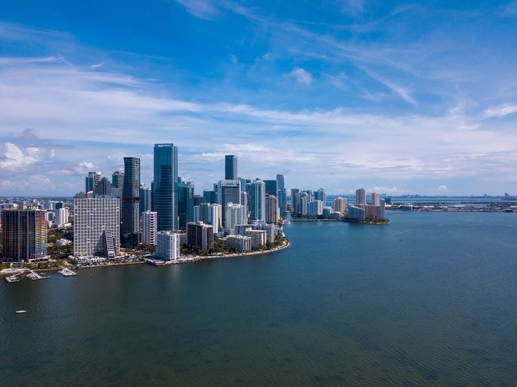 Brickell aerial Aerial View Drone  Architecture Water Building Exterior City Sky Built Structure Office Building Exterior Building Skyscraper Sea Travel Destinations Urban Skyline Cityscape Nature Landscape Cloud - Sky Travel No People