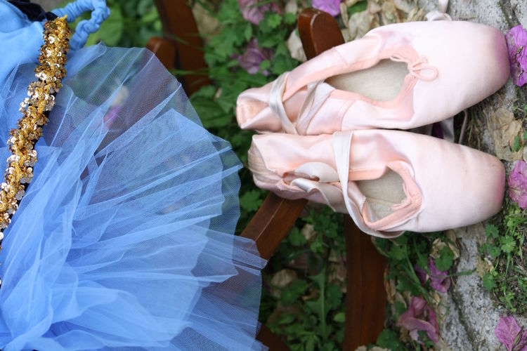 Directly above shot of ballet shoes