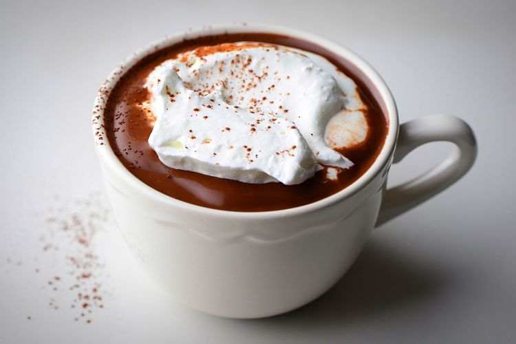 Hot chocolate Whipped Cream Hot Chocolate Cocoa Powder Cacao Powder Food And Drink Drink Mug Cup Refreshment Coffee Cup Coffee Coffee - Drink Hot Drink Dairy Product Sweet Food Freshness Close-up Directly Above