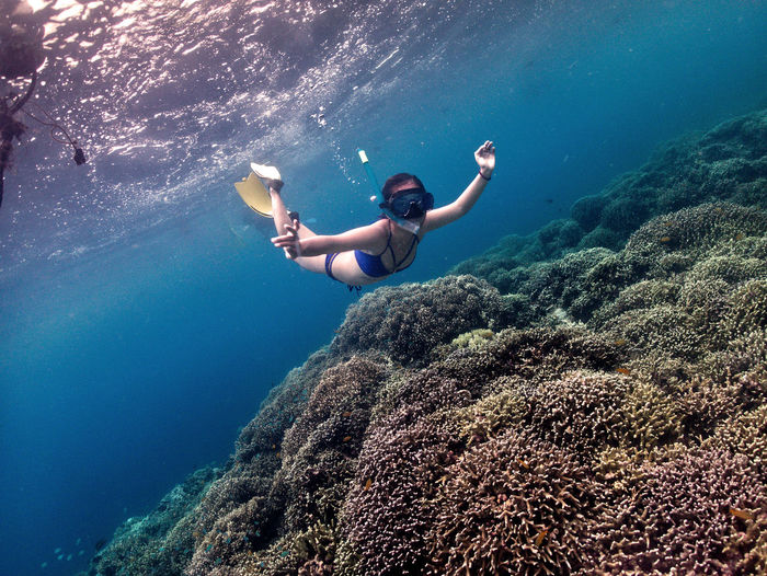 Freediving young girl