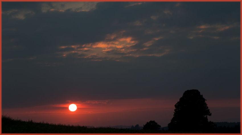 Beauty In Nature Calm Cloud Cloud - Sky Dramatic Sky Idyllic Majestic Nature Non-urban Scene Orange Color Outdoors Red Color Scenics Silhouette Sky Sun Sunset Tranquil Scene Tranquility