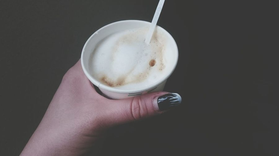 Drink Coffee - Drink Refreshment Holding One Person Human Hand Food And Drink Human Body Part Drinking Glass Adults Only Close-up People Freshness Indoors  One Woman Only Frothy Drink Cappuccino Only Women Adult Latte