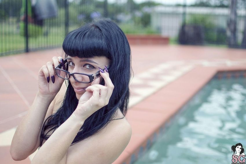 """FeeFee in her set """"Naked Summer"""". Will be live on SuicideGirls.com in 9 hours! Outdoors Alternativemodel Portrait Sghopeful Gorgeous Outdoor Photography SuicideGirls Sgaustralia Poolside Girls With Glasses"""
