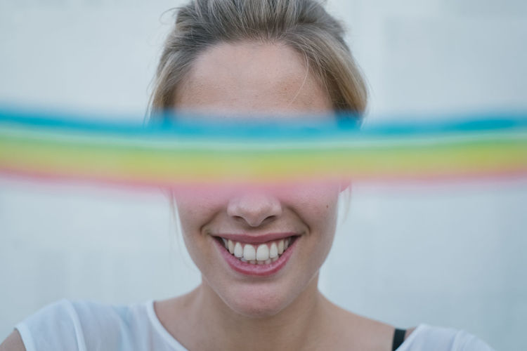 Rainbow Rainbow Rainbow Colors Rainbow🌈 Women Blond Hair Blonde Girl One Person Portrait Headshot Front View Smiling Happiness Childhood Teeth Toothy Smile Emotion Child Body Part Human Body Part Hair Close-up Cheerful Offspring Human Face Innocence Human Hair