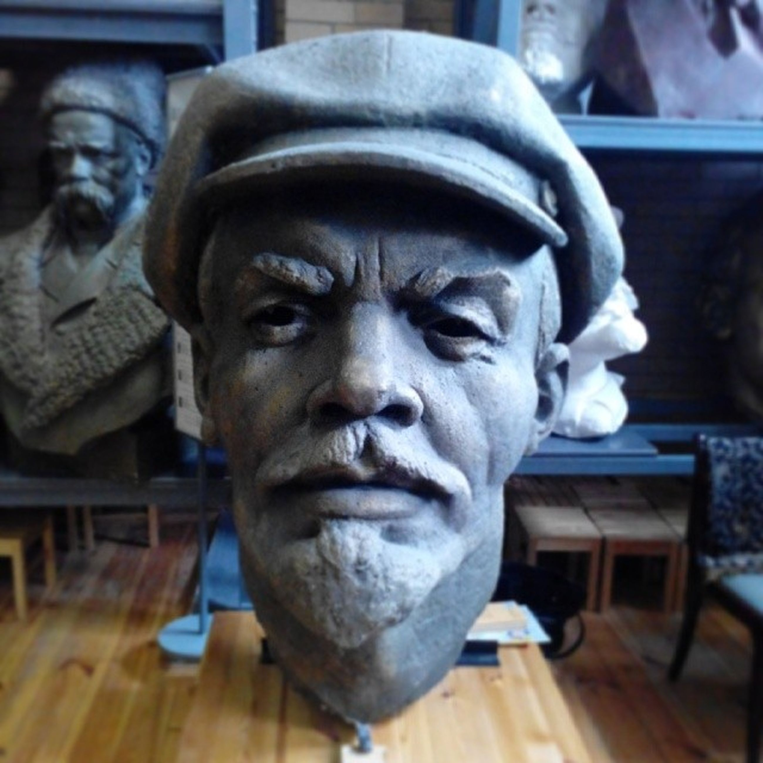 human representation, art and craft, statue, sculpture, art, creativity, close-up, focus on foreground, indoors, portrait, front view, incidental people, beard, looking at camera, day, carving - craft product, religion, human face