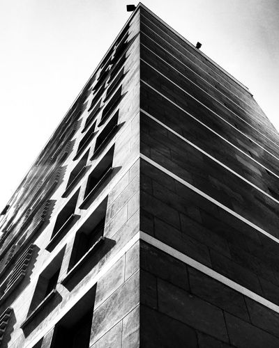 Building Building Exterior Low Angle View Perspective Urban Geometry Urbanphotography Geometry Light And Shadow Sunny Day Sunshine Blackandwhite Blackandwhite Photography Architecture Architectural Detail Mmaff From My Point Of View Eye4photography  EyeEm Gallery Taking Photos Hello World EyeEm Best Shots - Black + White Showcase April