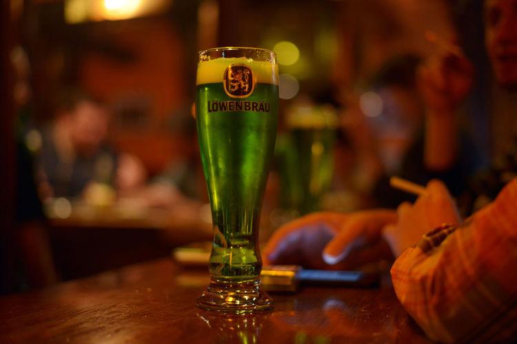 St. Patrick's Day Irish Pub Alcohol Bar - Drink Establishment Bar Counter Beer Beer Time Close-up Drink Drinking Glass DSLR Green Green Beer Green Beer For St Patrick's Day Indoors  Ireland Löwenbräu March17 Nightlife No People Pub St. Patrick's Day Stpats Tamar Mirianashvili